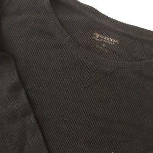Black Waffle-Knit Thermal Crewneck